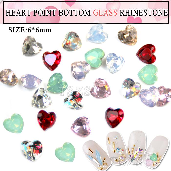 15pcs Lot Anese Style Point Bottom Heart Shape Nail Art Gl Rhinestone
