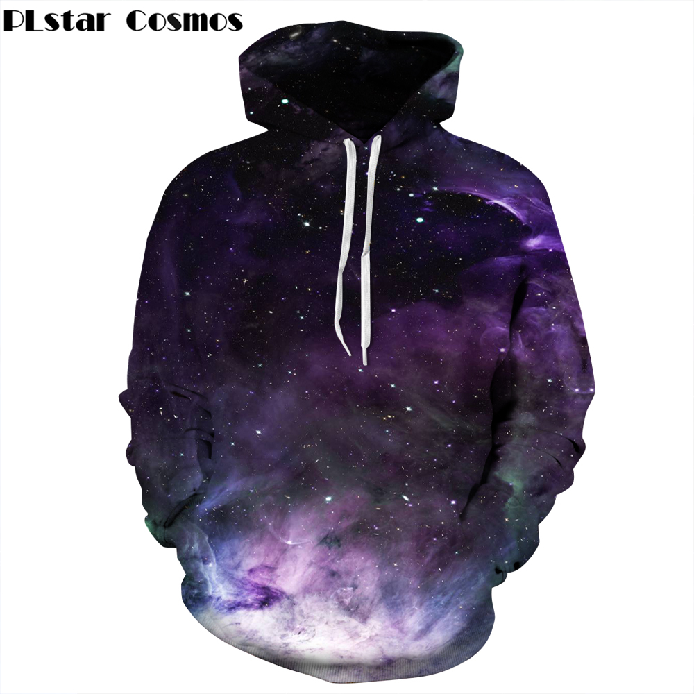 PLstar Cosmos hot sale Men/Women Pocket Drawstring Hoodies Galaxy Space 3d Print Loose casual Hooded Sweatshirts Free shipping