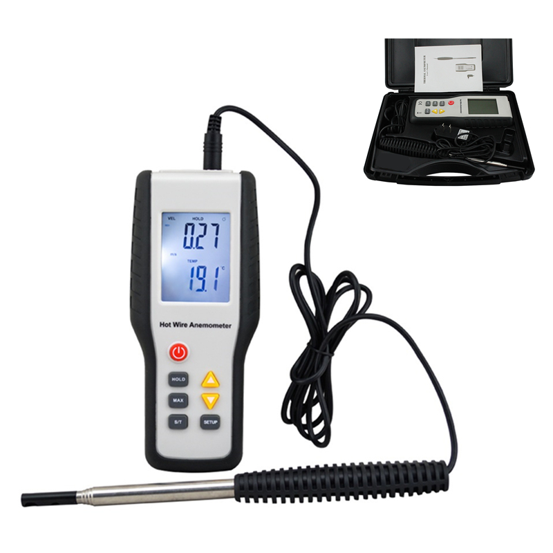 Digital Wind Speed Meter High Sensitivity Heat-Sensitive Thermal Anemometer Anemometro LCD Display Speed Measuring Instruments