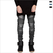 Plissee patchwork locomotive jeans mode biker jeans männer cotton street style dünne jeans männer motorrad jeans männer