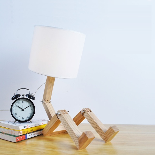 Creative Gifts Foldable Robot Desk Lamps Wooden Base Table Lamp Modern Lampara As Home Decor Bedroom