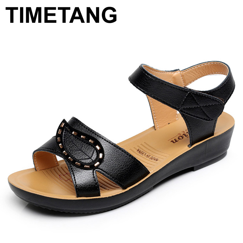 TIMETANG Summer New Fashion Ladies Sandals middle-aged non-slip flat comfortable old shoes large size Soft bottom women shoes 2016 summer style transparent sandals white gauze flat point diamond women s sandals flat shoes non slip soft bottom shose