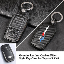hot deal buy 1pc genuine leather carbon fiber style car key case cover logo key shell protect styling fashion car accessories for toyota rav4