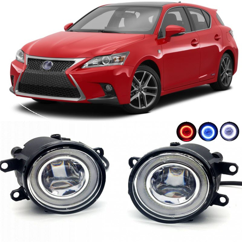 2 in 1 LED Angel Eyes DRL 3 Colors Daytime Running Lights Cut-Line Lens Fog Lights Lamp for Lexus CT 200h F Sport for opel astra h gtc 2005 15 h11 wiring harness sockets wire connector switch 2 fog lights drl front bumper 5d lens led lamp