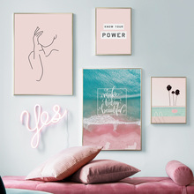 Blue Sea Pink Beach Girl Line Drawing Wall Art Canvas Painting Nordic Posters And Prints Pictures For Living Room Decor