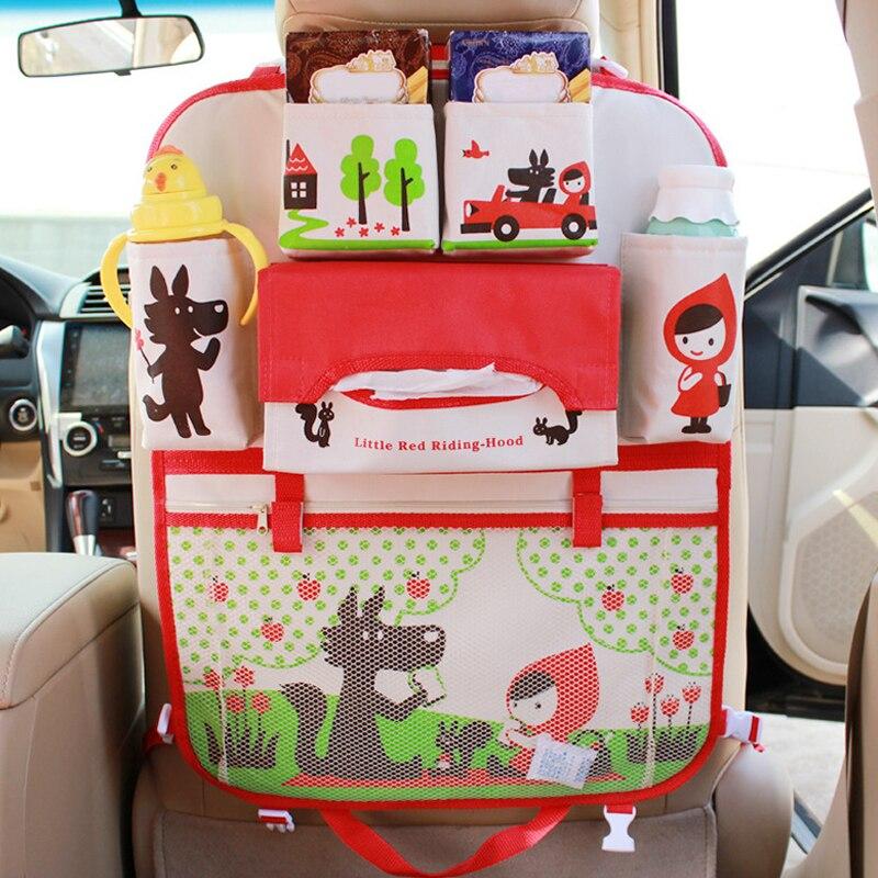 Cartoon Multifunctional Waterproof Universal Baby Stroller Accessories Bag Organizer Baby Car Hanging Basket Car Seat Storage