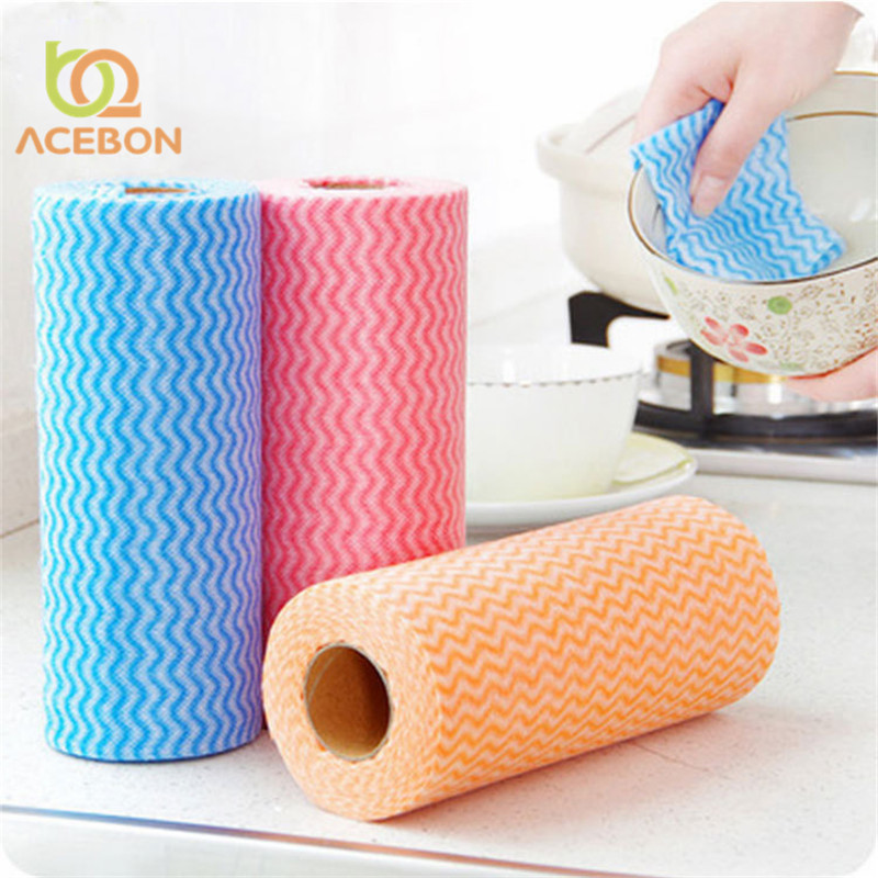50Pcs Roll Non-Woven Fabric Washing Cleaning Cloth Towels Kitchen Towel Disposable Striped Practical Rags Wiping Souring Pad