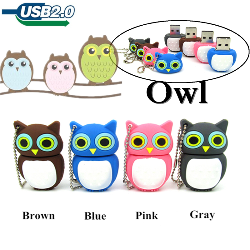 Beautiful owl usb flash drive pen drive cute Pendrive 4GB 8GB 16GB memory stick usb 2.0 100% Real Capacitymemory stick цена