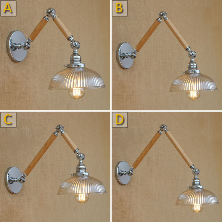 Modern adjustable swing arm wood glass clear shade wall lamp e27 led light decorative for bedroom living room bar free shipping electronic dry cabinet moisture proof box slrs lens protect 80liter super capacity