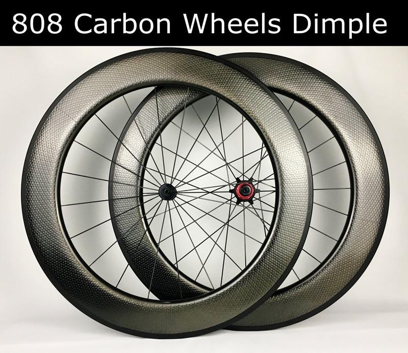 700C road bike carbon wheel 80mm Dimple wheelset clincher tubular special brake surface