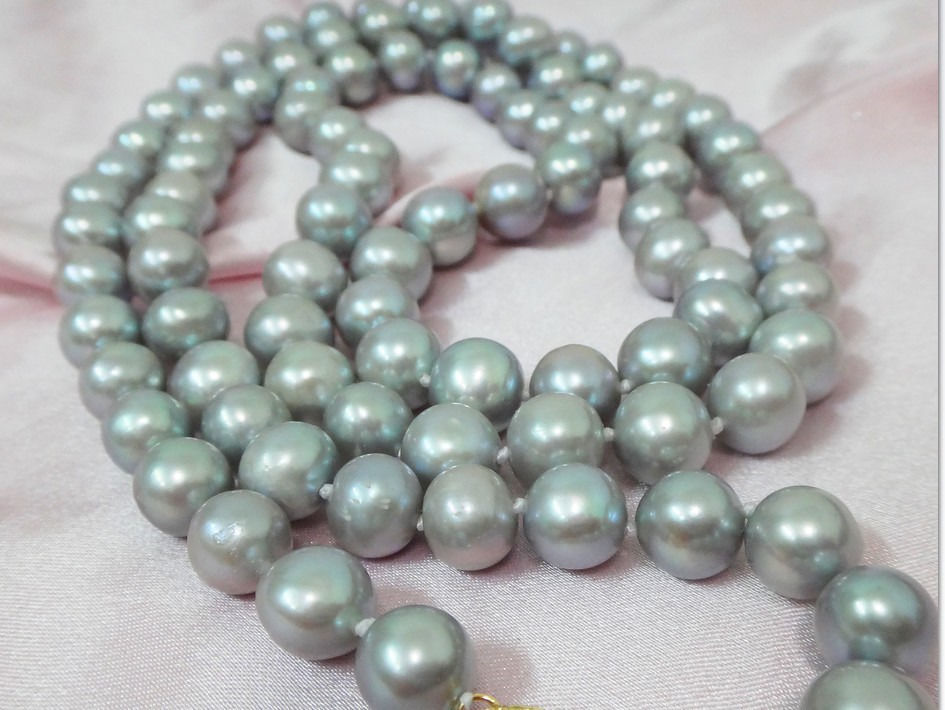 HUGE 3510-11MM NATURAL SOUTH SEA GENUINE SILVER GRAY ROUND PEARL NECKLACE 14KHUGE 3510-11MM NATURAL SOUTH SEA GENUINE SILVER GRAY ROUND PEARL NECKLACE 14K