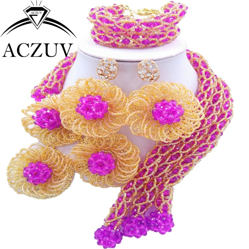 High Quality Jewelry Set Black Women African Fashion Beads Purple and Gold ab AN018 ab 47b black