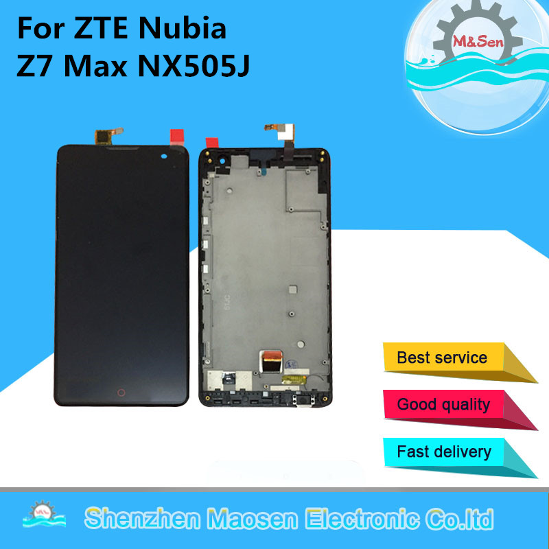 M Sen LCD Screen Display Touch Digitizer With Frame For ZTE Nubia Z7 Max NX505J Black