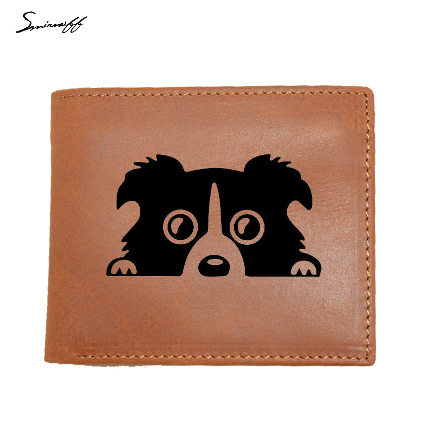 2018 Genuine Leather Men Wallet Border Collie DOG Small Walet Portomonee For Man Id Card Pocket Perse Holder Coin Purse