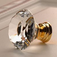 30mm Modern Fashion Deluxe Glass Handle Knob K9 Crystal Drawer Cabinet Knob Pull Clear Gold Dresser