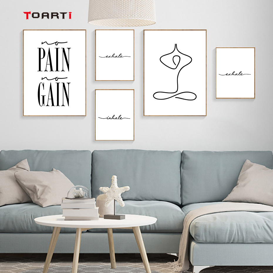 Wall Art Prints And Posters Black And White Yoga Wall Art Prints Posters Inhale Exhale Pain Gain Quotes Canvas Painting Modern