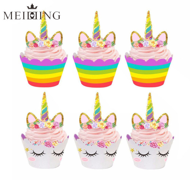 Birthday Decoration Unicorn Horse Cupcake Wrappers Cake Topper Kids Party Supplies Baby Shower Decor