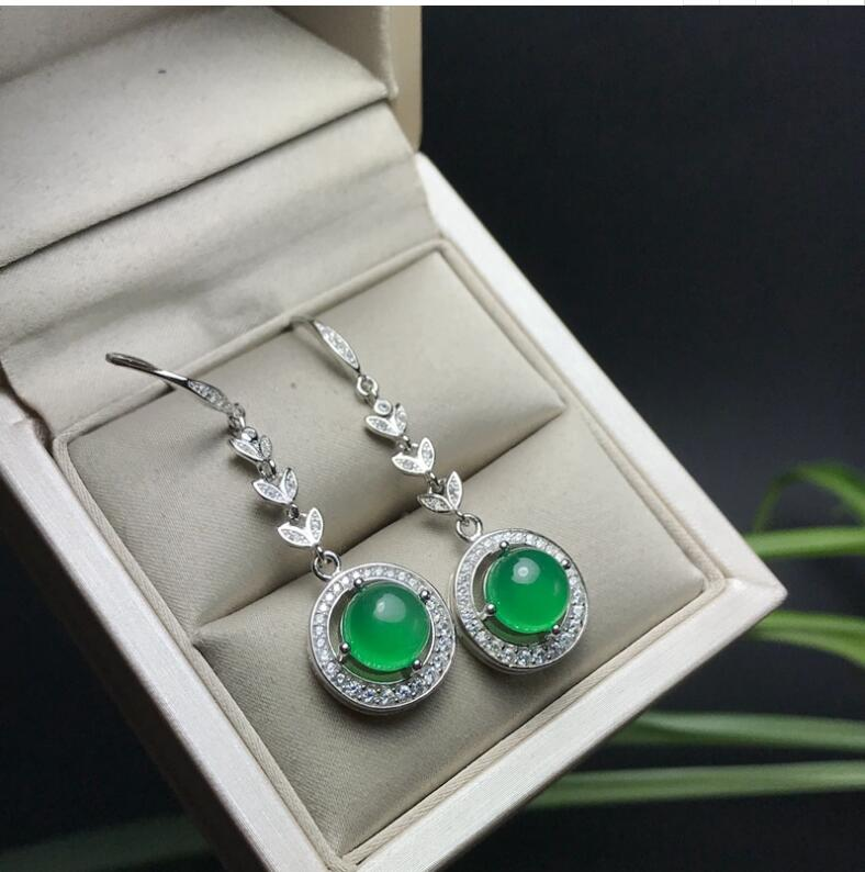 Natural Chalcedony earring Free shipping Jewelry Natural real Chalcedony 925 silver Earring серьги 925 silver earring