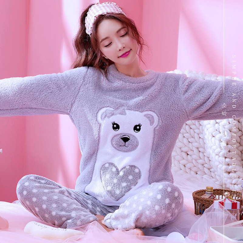 Winter Women Nightwear   Pajama     Set   Flannel Warm 2 PCS   Pajamas   Coral Fleece Sleepwear Suits Autumn Pyjamas   Set   Women's Homewear