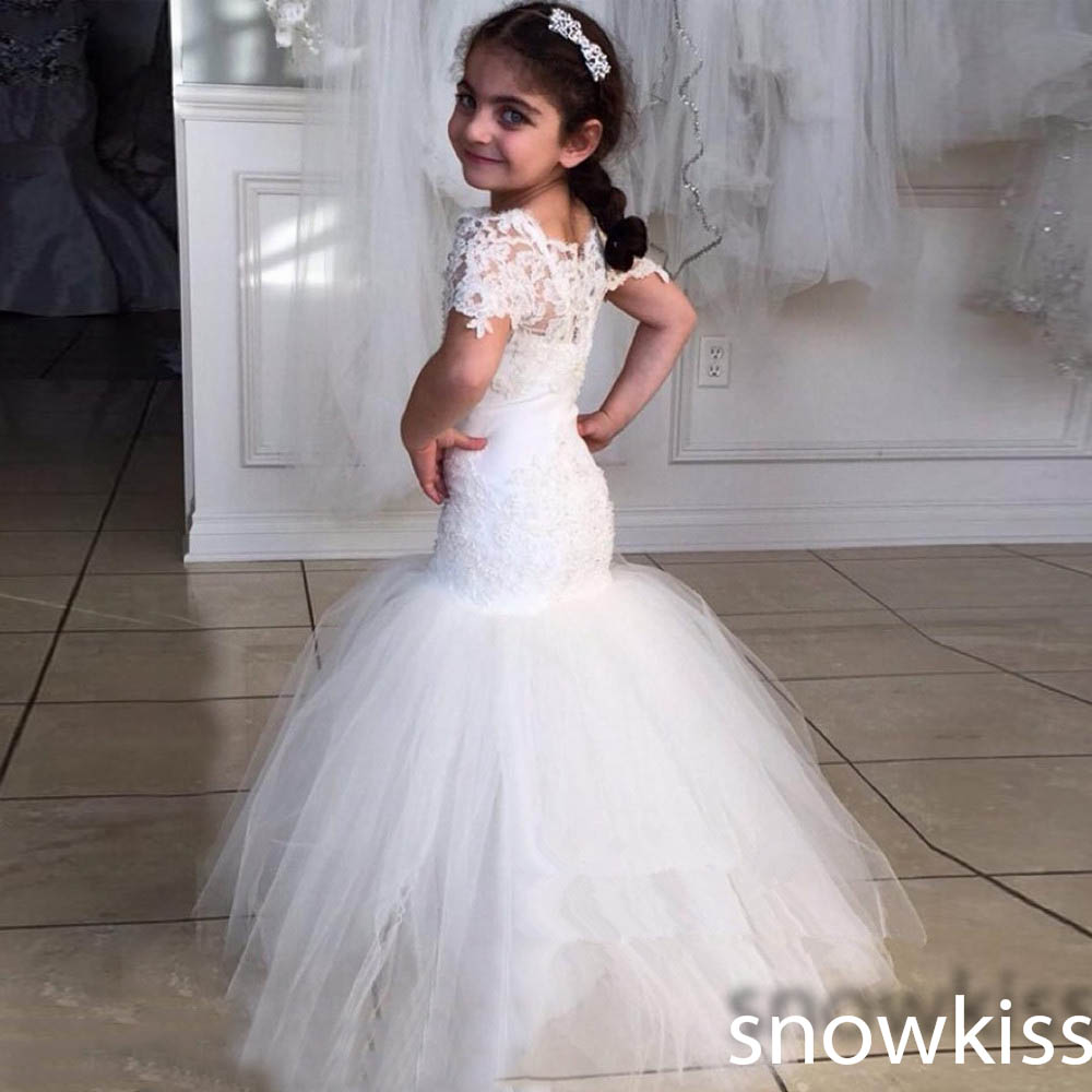 New arrival beautiful white/ivory long mermaid flower girl dresses lace formal first communion wedding prom gowns for juniors beautiful white ivory lace tulle flower girl dresses first communion ball gowns for juniors with sash vintage baby party frocks