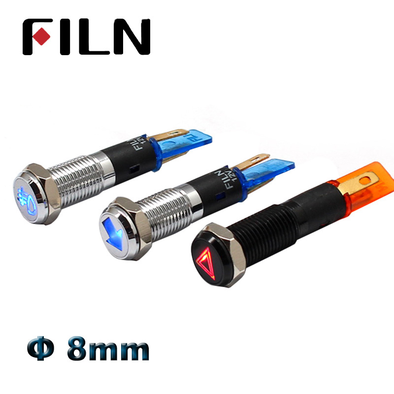 8mm 12v Led Symbol Illuminated Indicator Light Red Green Blue White Amber Led Pilot Lamp Car Dashboard Warning Light