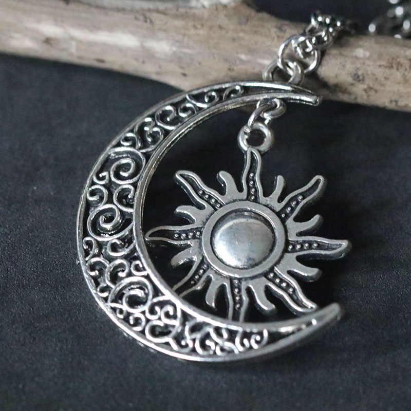 Bulan Sabit & Sun Kalung Vintage Silver Liontin Bulan Supernatural Kalung Kalung Collier Wicca Pagan Hadiah Natal