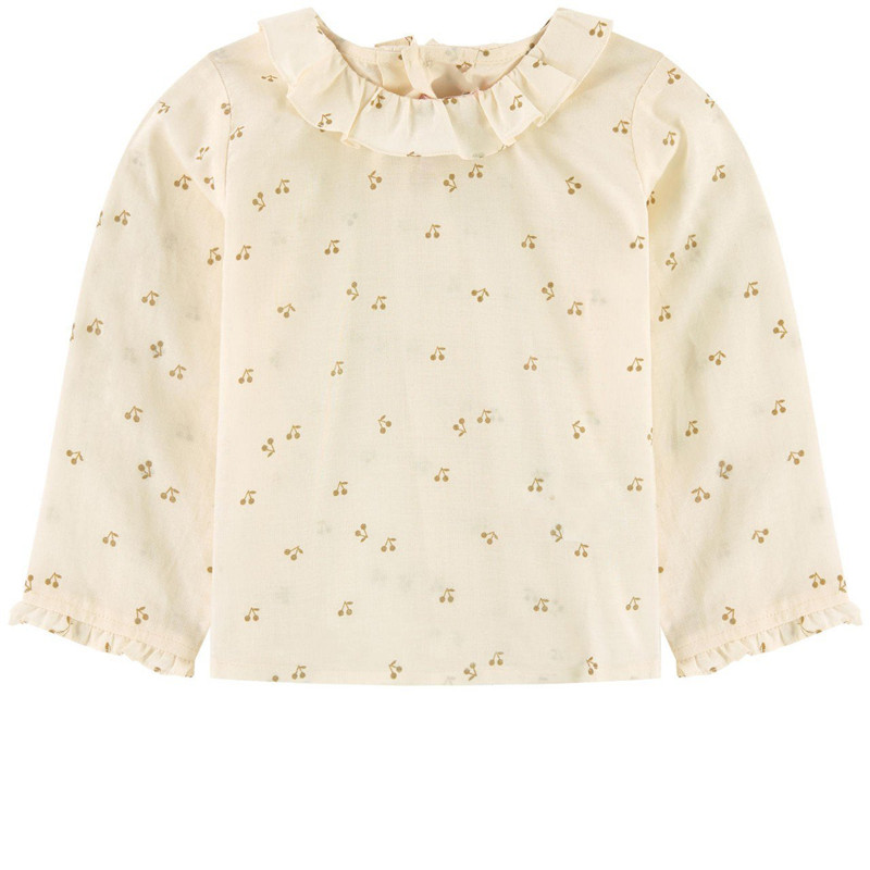 2019 Cherry Blouses For Girl Kids Cotton Girl Cute Shirts Full Sleeve Children School Uniforms Spring Formal Students Clothing