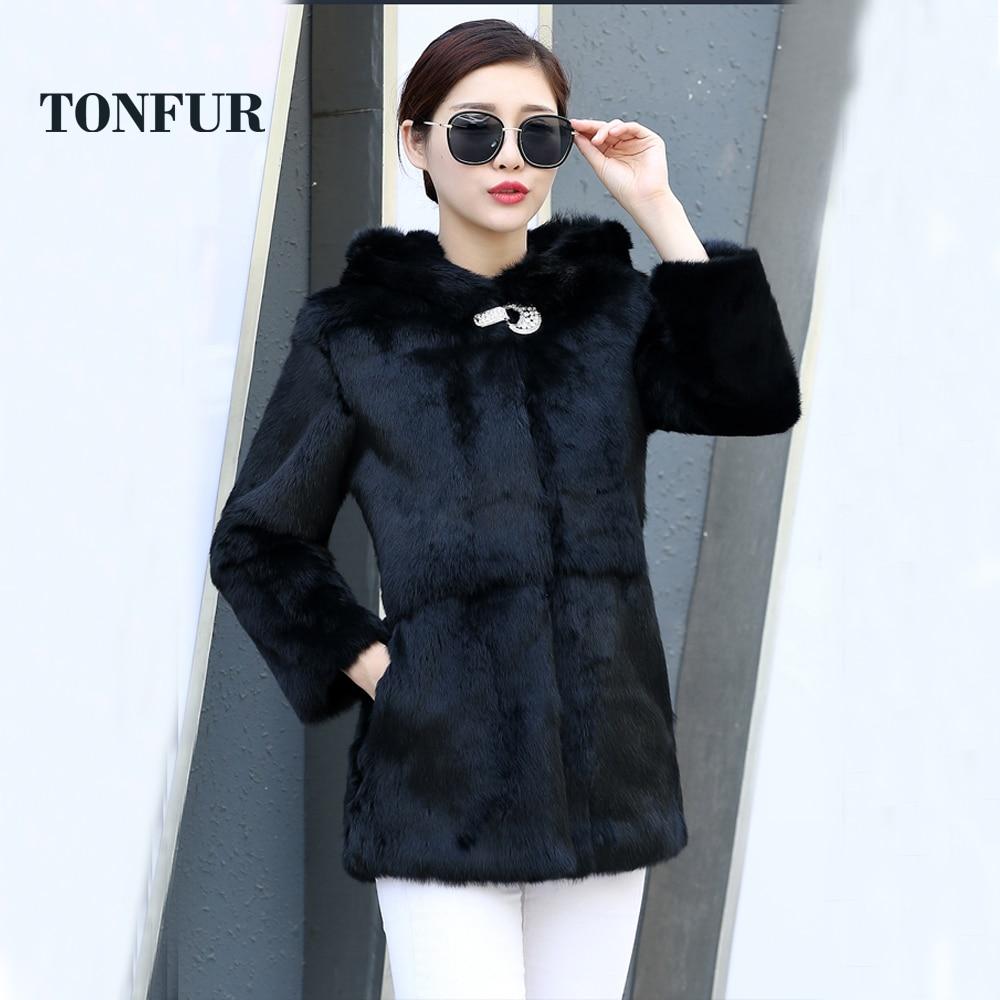 Real Rabbit Fur Coat Women 2019 New Genuine Whole Skin Rabbit Fur Coat Long Jacket Winter Natural Fur Coat With Fur Hood Wsr239