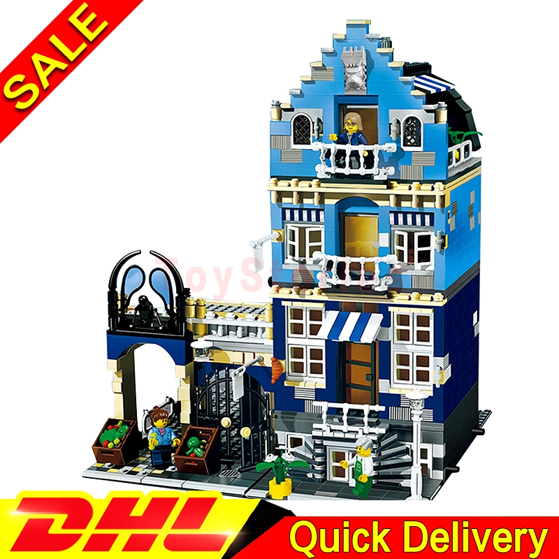 Lepin 15007 MOC City Street European Market Model Building Block Set Bricks Kits Set legoings toys Clone 10190 a toy a dream lepin 15008 2462pcs city street creator green grocer model building kits blocks bricks compatible 10185