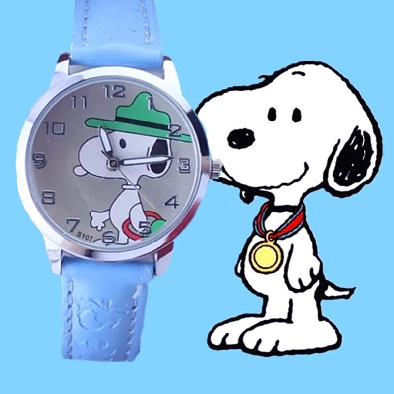 Children's minimalist cartoon fashion Snoopy puppy belt watch factory direct selling hot new child watches