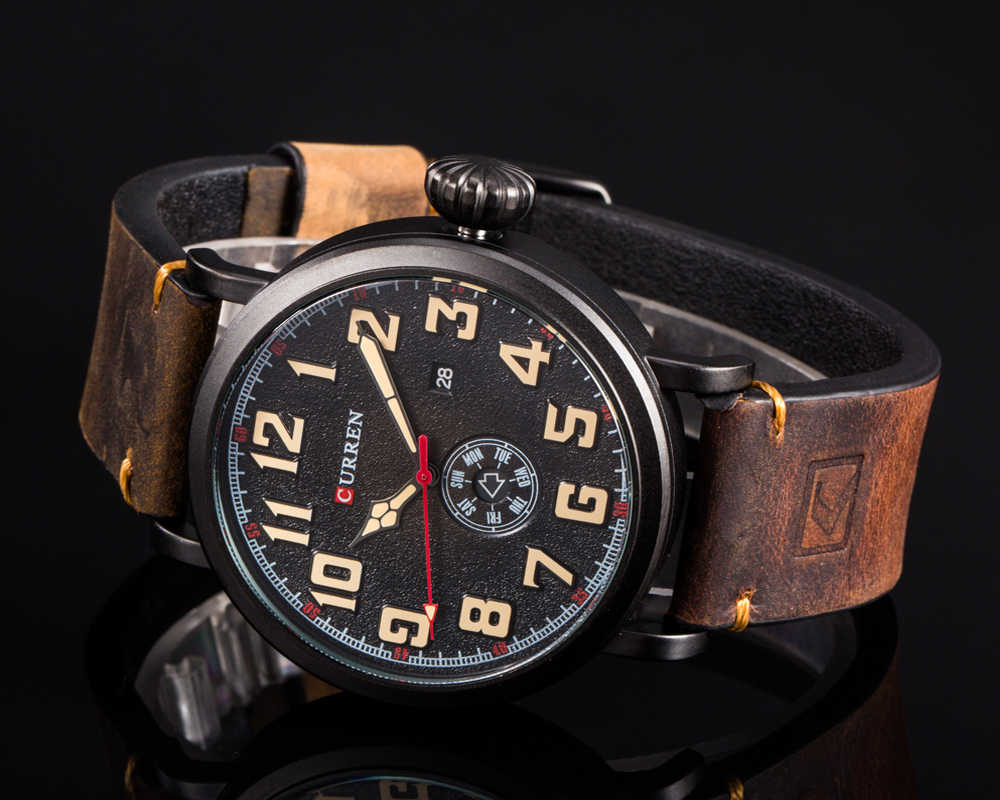 New CURREN Mens Watches Top Luxury Brand Vigilanza del Quarzo degli uomini Impermeabile Sport Militare Orologi Da Uomo In Pelle relogio masculino