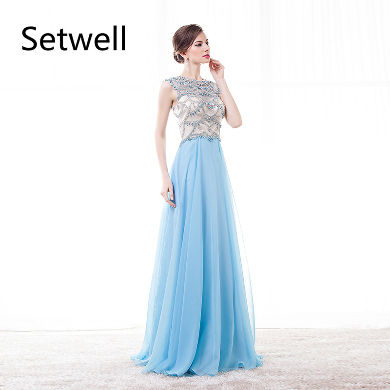 Setwell Elegant Long   Evening     Dresses   Illusion Crystal Beading Backless   Evening   Gowns High Quality Luxury Prom   Dress