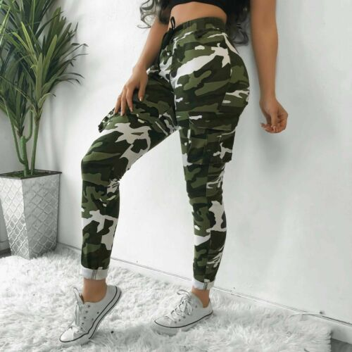 Womens Casual Pants Stretch Army Camo Camouflage Skinny Jeans Cargo Pants Girls Ladies Summer Sports Trousers Dropshipping
