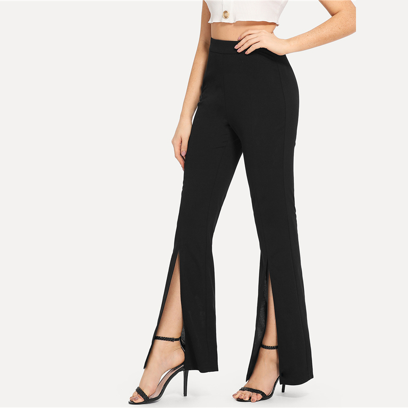 SHEIN Black Split Solid Leggings Workwear Elegant Plain Mid Waist Casual Leggings Women Fitness Spring Autumn Pants 7