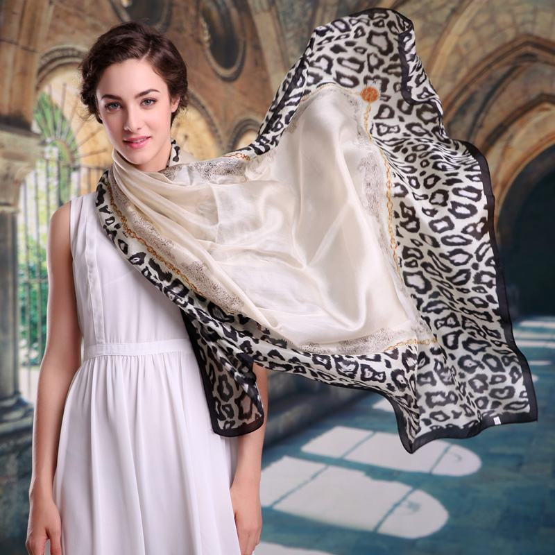 Mulberry Silk Silk Scarf,Satin Fashion Leopard Print Silk Scarf Shawl Large Facecloth Apparel Accessories Design Long Scarf Cape