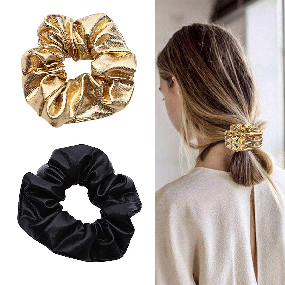 shiny elastic Women Pu Faux Leather Elastic Hair Girls Hairband Rope Ponytail Holder Scrunchie Gold Black Headbands Accesso in Women 39 s Hair Accessories from Apparel Accessories