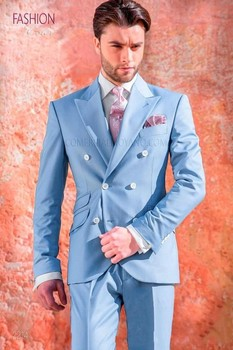 Fashionable Double Breasted Sky Blue Groom Tuxedos Peak Lapel Groomsmen Men Blazers Suits (Jacket+Pants+Tie) NO:364