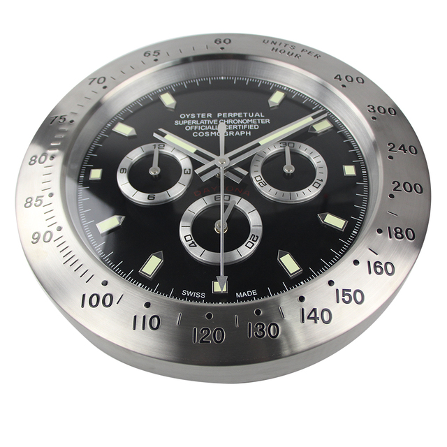 HOT sale! Silver metal black face wall clock wristwatch  for best home decoration