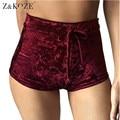 Z & KOZE Nuevo terciopelo de las mujeres cortocircuitos del cordón 2017 otoño invierno ocasional de la alta cintura sexy elegante flaco shorts 10 colores S-XL
