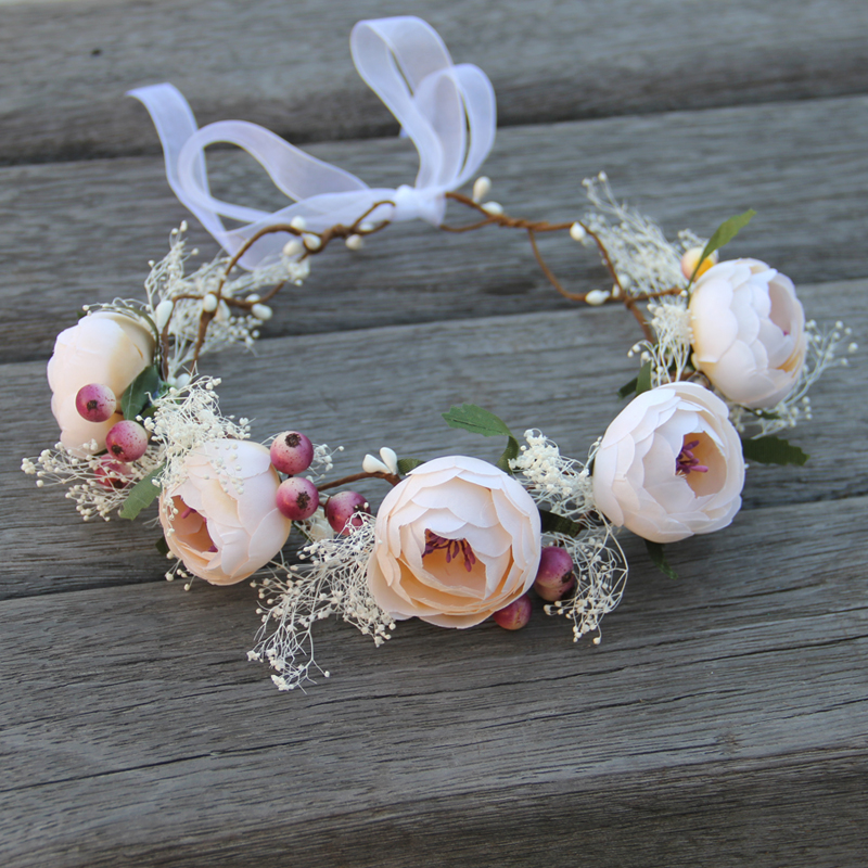 Rosa Flower Wreath  Wedding Bridal Artificial Flower Head Tiara Crown For Hair Floral headband Woman Hair accessories 2017 newly fashion tiara hairwear headpiece plastic flower hairdress wedding hair accessories head chain bridal hairwear ma064
