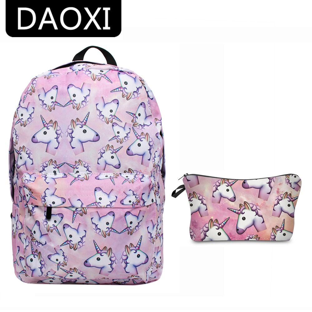 School bags for youth - Daoxi 2pcs Printing Unicorn Backpack Canvas With Zipper Youth Schoolbags Makeup Bag For Girls Boys
