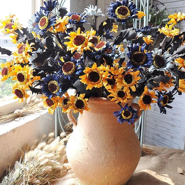 1pc pe 5 heads european style artificial sunflower silk flower 1pc pe 5 heads european style artificial sunflower silk flower american country rural wedding flower arrangement mightylinksfo