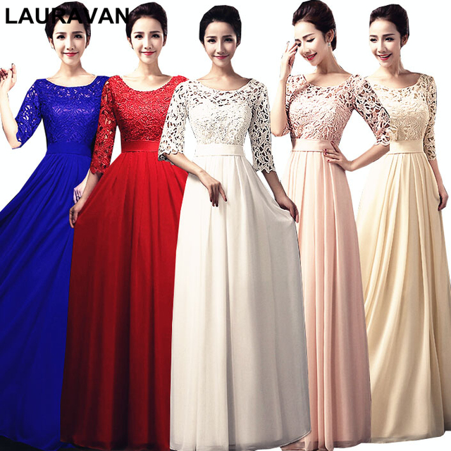 long red pink blue trendy sleeved bridesmaid elegant bridesmaids dresses  lace party dress royal blue wedding free shipping 81bbc9a81225