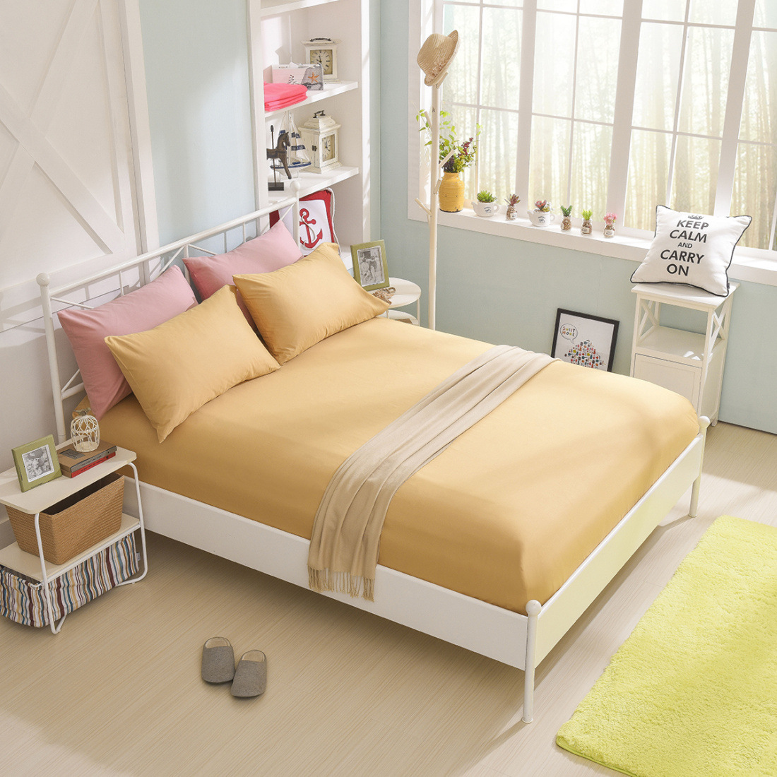 High Quality Cotton Solid Color Mattress Protector with Elastic Non slip Mattress Cover Pad Baby Fitted Sheet Protection in Mattress Covers Grippers from Home Garden