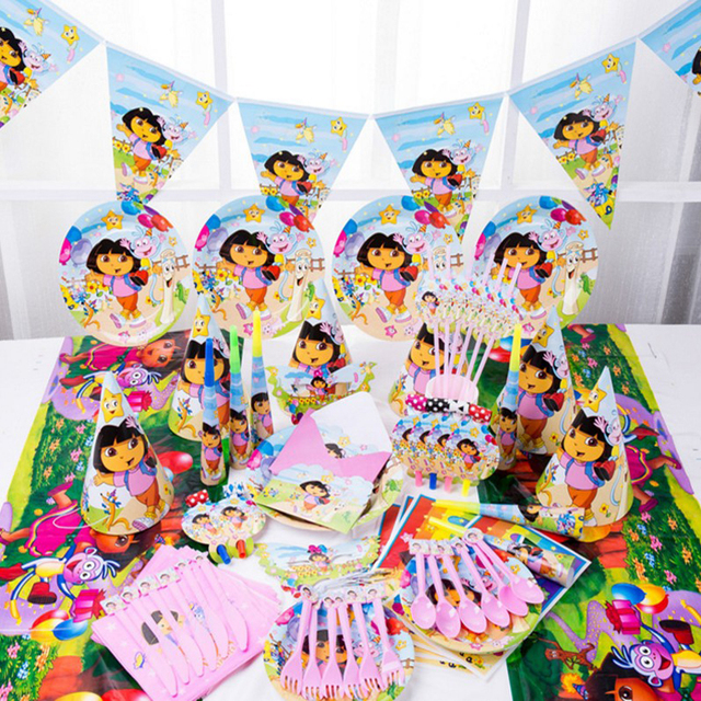 1 Set Cute Dora Theme Tableware Set Birthday Party Decoration Kids