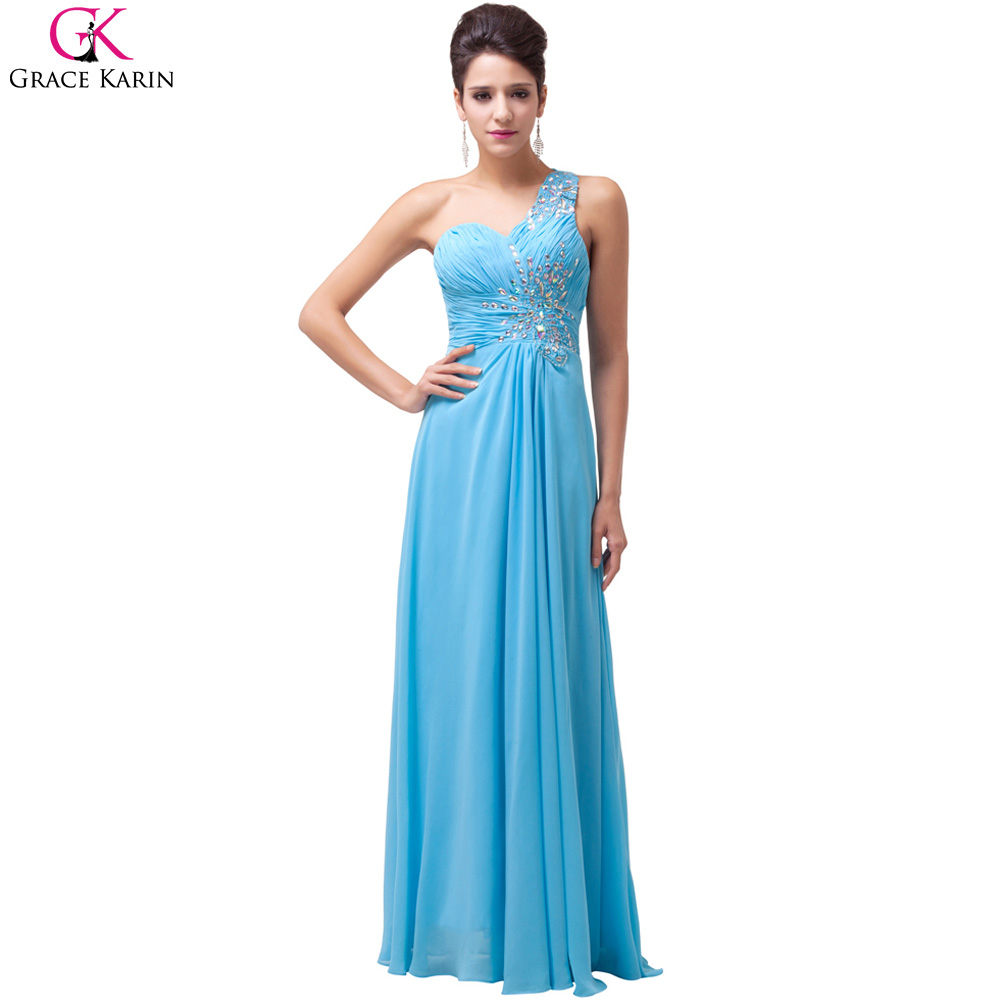 Grace Karin Blue Long Bridesmaid Dress One Shoulder Sequin Cheap ...