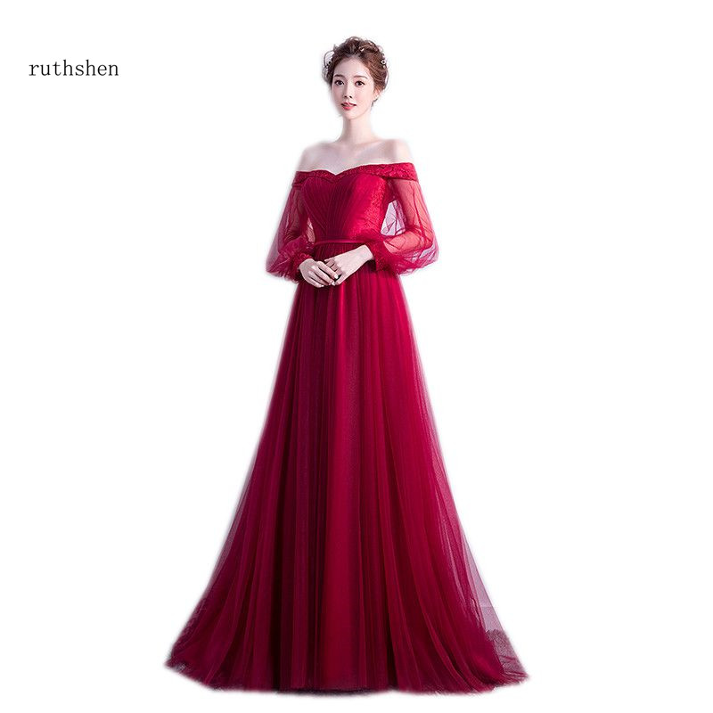 ruthshen Off The Shoulder Burgundy Special Occasion Party Gowns Long Sleeves Simple   Prom     Dresses   2018 New Arrival