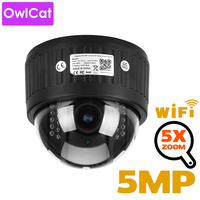 OwlCat 5X Zoom 2.7 13.5mm Indoor Wireless Rotate Dome PTZ IP Camera WiFi HD 2mp 5mp Audio Microphone SD Card IR Night Onvif P2P