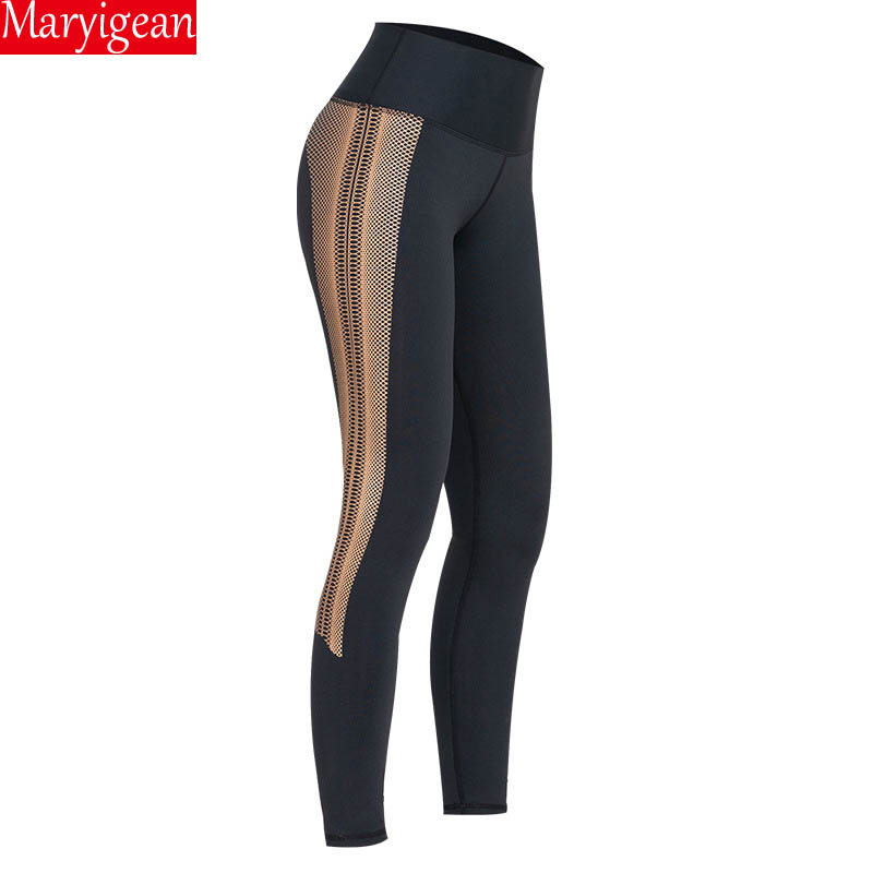 Maryigean Women Gold Print Leggings No Transparent Exercise Fitness Leggings Patchwork Push Up Female High Waist Seamless Pants