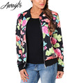 Awaytr Ethnic Style Sweet Floral Print Spliced Long Sleeve Women Jacket Coats Womens Fashion Black Collar Thin Coat